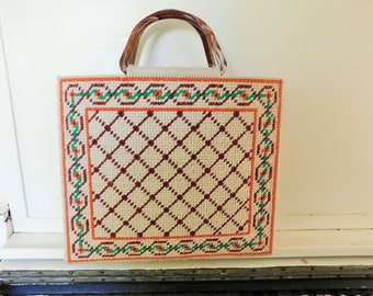 1980's, Needlepoint Handbag, Lined