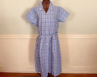 1950s Vintage Dress White Baby Blue Plaid by Brentwood Penney's NOS