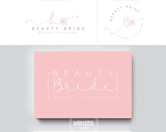 Watercolor Logo Design Branding Package Inc. Photography Logo Watermark - rose pink initials letters cute Watercolor Logo- Logo 15