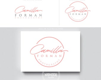 feminine signature logo pen initials businesscards  script simple modern feminine branding- logo Identity artist makeup wedding photographer