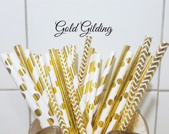 Gold Paper Straws, Party Straws, Vintage Paper Straws, Party Supplies, Wedding Supplies, Gold Stripe Straws, Decorative Paper Straws