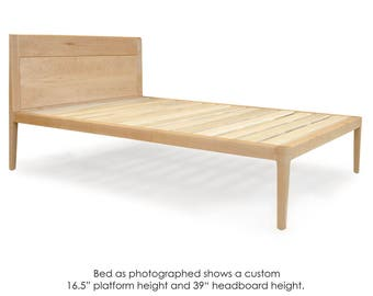 Maple Platform Bed No. 1 - Modern Wood Bed Frame - Twin, Full, Queen, King