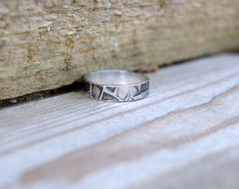 Sterling silver textured ring, silver ring, silver ring size L 1/2, boho ring, tribal silver ring, rustic silver ring