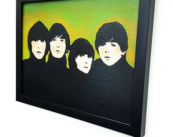 The Beatles Green Retro -  Framed Wall Art Giclee Canvas Paint,Painting, Poster,Print- Great Rock'n'Roll Home Decor