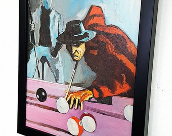 Freddy VS Jason  - Lets play Snooker -  Framed Wall Art Giclee Canvas Paint,Painting, Poster,Print- Great Horror Movie Home Decor