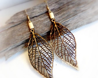 Rustic leaf nature wood earrings , Natural eco laser cut jewellery  Gift for wife  5th anniversary gift for her Neutral lightweight earrings