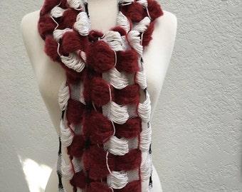 red merino wool &white bamboo wool circle scarf