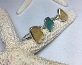Sea Glass Ring Sz 6 1/2 Mermaid Jewelry Hammered Sterling Silver
