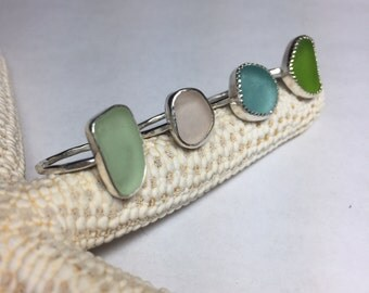 Sea Glass Ring Sz 5 1/4 Mermaid Jewelry Hammered Sterling Silver