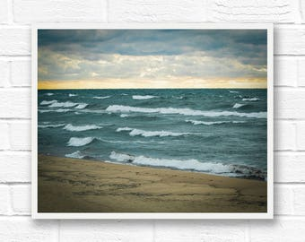 Michigan print, printable beach decor, beach photo download, Lake Michigan home decor, coastal wall art, Saugatuck Michigan decor, Oval