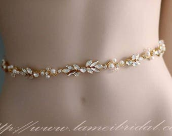 Ready To Ship -Gold Crystal Rhinestone encrusted bridal belt, Crystal Belt, Bridal Sash,Crystal Pearl Weave Bridal Belt Sash in Golden