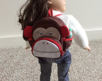 Back to school monkey backpack and supplies for American boy or girl 18 inch doll