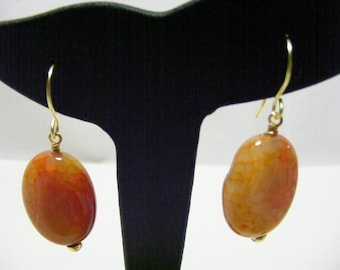 Orange Poppy Agate Earrings