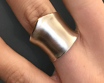 """Sterling Silver Wide Band """"Shield"""" Ring- Slight Anticlastic Bend"""