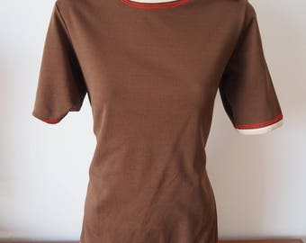 Funky 1970s brown collared top M