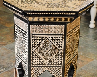Egyptian Mother of Pearl Inlaid Table