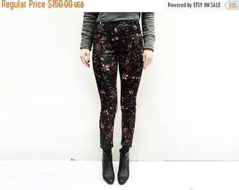 SALE - Unique Black Pants, Black Print Pants, Dark Print Pants, Black Floral Pants, Black High Waist Pants, Black Skinny Pants / Last Size -
