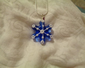 Lampwork Snowflake Necklace