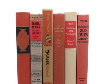 FREE SHIPPING .............Orange and tan book collection, decorative old books, old books, old book set, vintage wedding decor