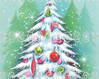 Digital download vintage Christmas card, Christmas tree, pink ornaments, aqua background