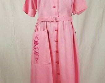 1940s Linen Look Pink Shirt Dress w Embroidery