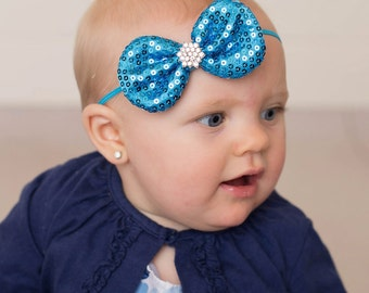 Bright Blue Headband, Neon Blue Headband, Blue Bow Headband, Flower Girl Headband, Baby Blue Headband, Christmas Headband, Blue Sequin Bow