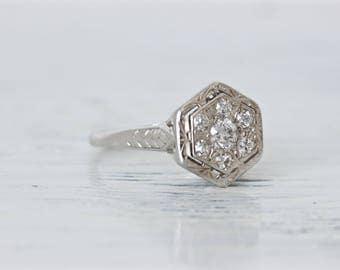 Vintage Engagement Ring | Antique Diamond Cluster Ring | Antique 14k White Gold Ring | 1920s Wedding Ring | Dainty Filigree Ring | Size 4.25
