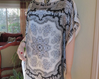 Elegant Black and White Silk Tunic, Womens Tunics, Silk Blouse, Black and White Blouse, Silk Top, Silk Caftan