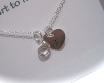 Sterling Silver Initial Birthstone Mother and Daughter Necklace in a gift box