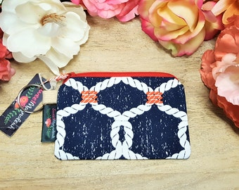 Credit card pouch, Small zipper pouch, Keychain wallet, Nautical pouch, Coin purse, Coin pouch, Gift under 10