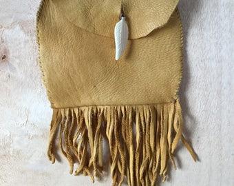 Handmade Hip Belt Pouch Soft Deer Skin Leather Fringe Purse Boho Festival Style