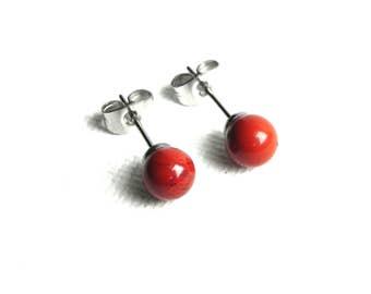 Red Jasper Stud Earrings