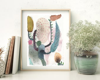 Beautiful abstract botanical art print from hand painted watercolour painting by Annemette Klit. Matte surface on recycled paper. Size A5