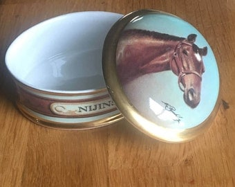 English Danbury mint China Race Horse Nijinsky jewellery trinket box