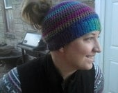 Woman's poneytail/bun beanie hat