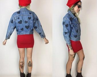 90's Black Hearts Jean Jacket Medium - Painted Vintage All Over Print Jacket - Valentines Black Heart Print Jean Jacket Retro Hipster Kawaii