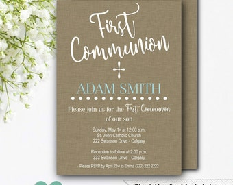 First Communion Invitation Boy - Printable Communion Invitation - 1st Communion Boy - Brown Communion Invitation - Boy Communion Invite