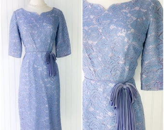 blue & lilac illusion floral chantilly lace cocktail midi dress / vtg 50s pinup party dress / satin ribbon bows / elbow length sleeves