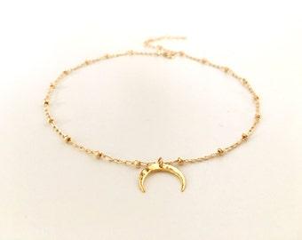 Gold Double Horn Choker, Beaded Chain Choker, 14kt Gold Filled Satellite Chain Choker, Gold Crescent Moon Beaded Choker
