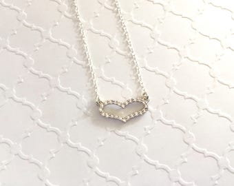 Silver CZ Open Heart Necklace, Gift for Sister, Mother's Day Gift, Graduation Gift, Bridesmaid Gifts