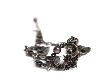 Vintage Cini Sterling Silver Flower Basket Choker Necklace - Ornate 1940s Floral Art Nouveau Jewelry