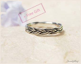 Braided ring, Unique Silver ring, Thin Silver ring, Thin stacking ring, Thin Silver band, Everyday ring, Cool ring, Silver thumb ring
