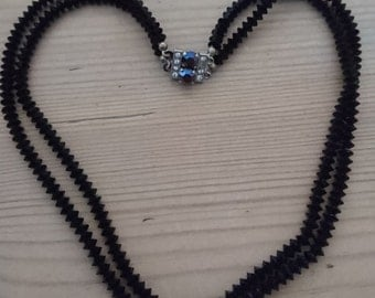Vintage two strand black glass bead necklace
