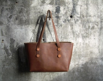 Leather Shopping Bag - Leather Tote Bag - Leather Shoulder Bag - Leather Carryall - Brown Leather - Leather Book Bag - Handmade In the USA