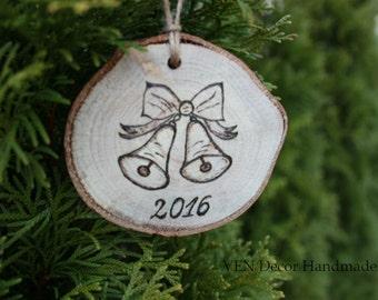 Wood Burned Bells Ornament, Wooden Chrismas Tree Ornament, Tree Slice Ornament, Christmas Bells Year Ornament, Rustic Bells Ornament