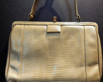 1950s Vintage Lizard Leather Handbag Beige Brass Clasp