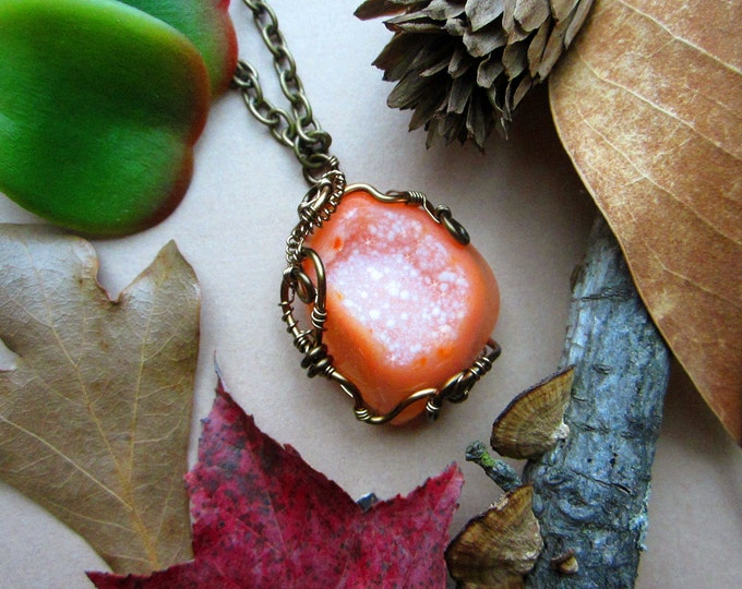 "Wire wrapped necklace ""Galaxy"" with beautiful orange Druzy Agate (geode crystal). Custom length chain."