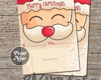 Printable Christmas gift card holder, santa, digital, instant download, last minute gift, teacher, neighbor, friend, family, children, kids