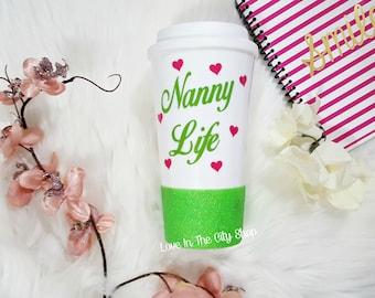 Nanny Life, Nanny Life Mug, Best Babysitter Mug, Babysitter Gift, Gift for Nanny, Gift for Babysitter, Best Babysitter Ever, Glitter Mug