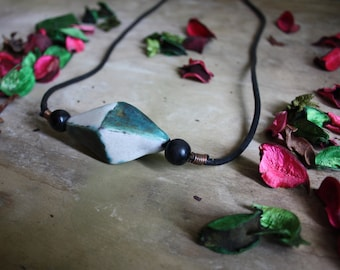 Leather necklace with raku pottery